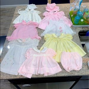Vintage 10-piece Girl's Dress Bundle 3 mos -12 mos